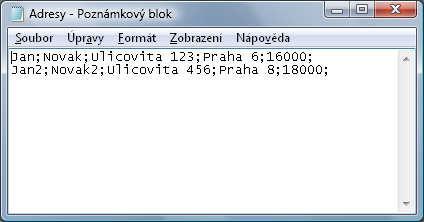 Správná podoba obsahu CSV souboru